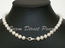 """18"""" Inch Genuine 8-9mm White Pearl Necklace Lobster Clasp Cultured Freshwater"""