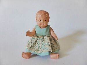 Small-Vintage-Celluloid-Baby-Doll-in-Hand-Made-Dress-1950s-Doll-Hand-Painted