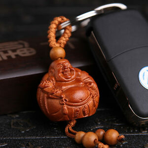 Happy-Maitreya-Buddha-Wood-3D-Carved-Chinese-Statue-Pendant-Key-Chain-Keyring