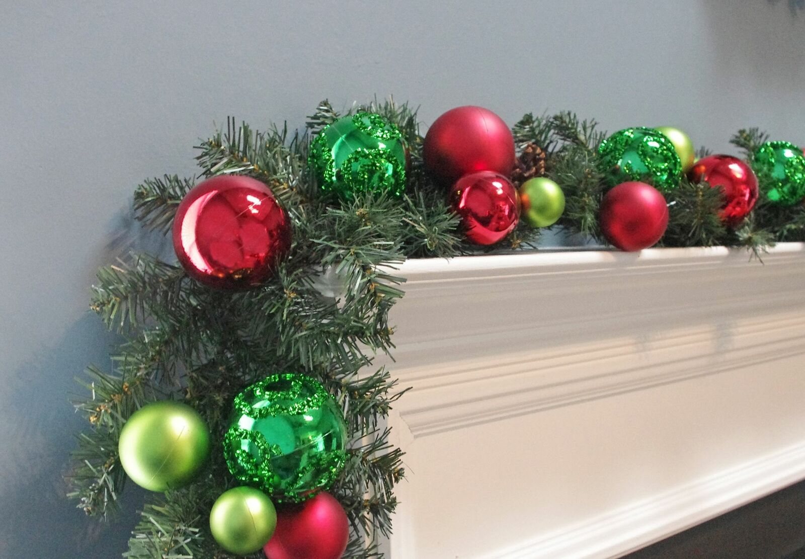 Christmas Garland Flocked Decorated Ball Ornaments Blue Silver 6 For Sale Online Ebay