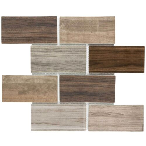 Modern Brick Brown Grey Glass Mosaic Tile Backsplash Kitchen Wall MTO0334
