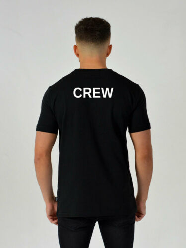Mens Black CREW T-Shirt film staff bouncer party nightclub roadie