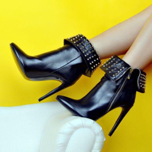 Schuhe Heel Mode Frau Schwarz Nieten Absicht Stiefeletten Ursprüngliche High Frauen 8v0OqwgH