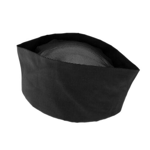 Professional Chef Hat Skull Cap Elastic Back Cooking Work Chef Cap Black Net Top