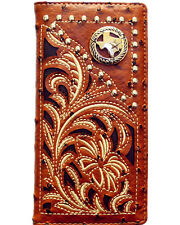 TEXAS ST BROWN LEATHER COWBOY CONCHO NEW HORSE Mens Bifold Long Wallet Western
