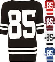 New Plus Womens 85 Print Oversize Baggy Baseball Short Sleeve T-Shirt Ladies Top
