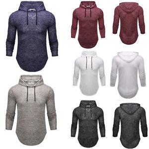 Men-039-s-Plain-Long-Sleeve-Pullover-Hoodies-Sweatshirt-Sports-Casual-Hooded-Tops