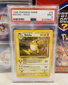 1999 Pokemon Game #14 Base Set Raichu Holo PSA9 MINT - Unlimited - Regrade 10?