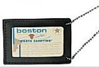 Boston Leather 5982-1 Neck Chain Double Id Holder, Black, New, Free Shipping