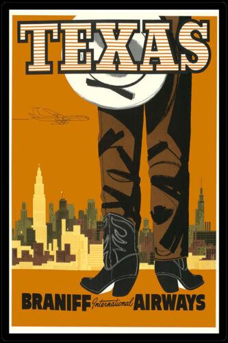 Vintage Retro Travel /& Railways Poster Print #3 A3 SIZE TEXAS