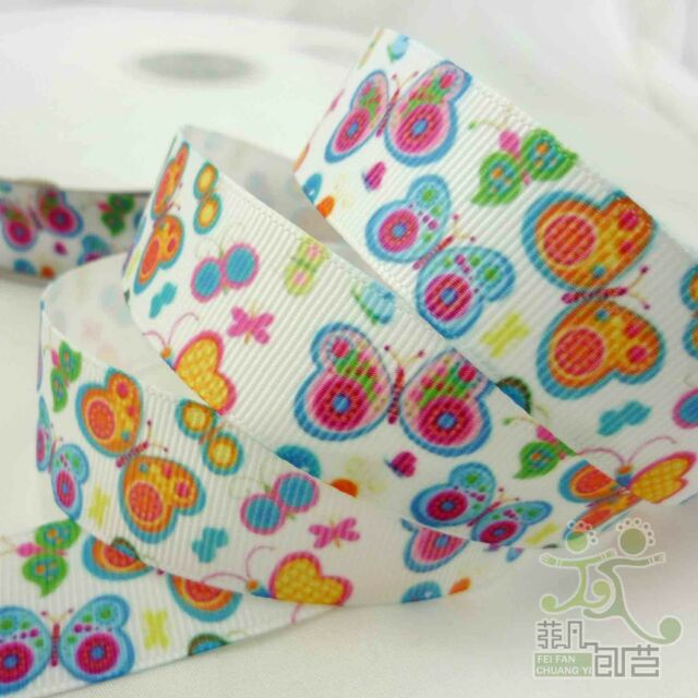 """22mm(7/8"""") White Colorful Butterfly Grosgrain Ribbon Lot Bow 1 Yard Craft Sew"""
