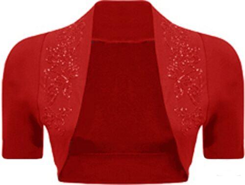NUOVA linea donna PLUS SIZE sequines con Perline Manica Corta Bolero Maglia Top 8-26