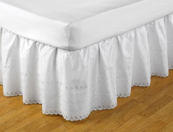 100% Kwaliteit Broderie Anglaise Easy Fit Valance White Single Bed 91cm X 191cm X 41cm Koel In De Zomer En Warm In De Winter