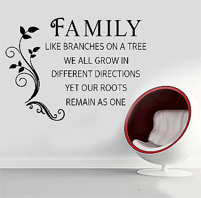 Family Like Branches On A Tree Quote Words Wall Sticker Art Decal Stickers SQE3