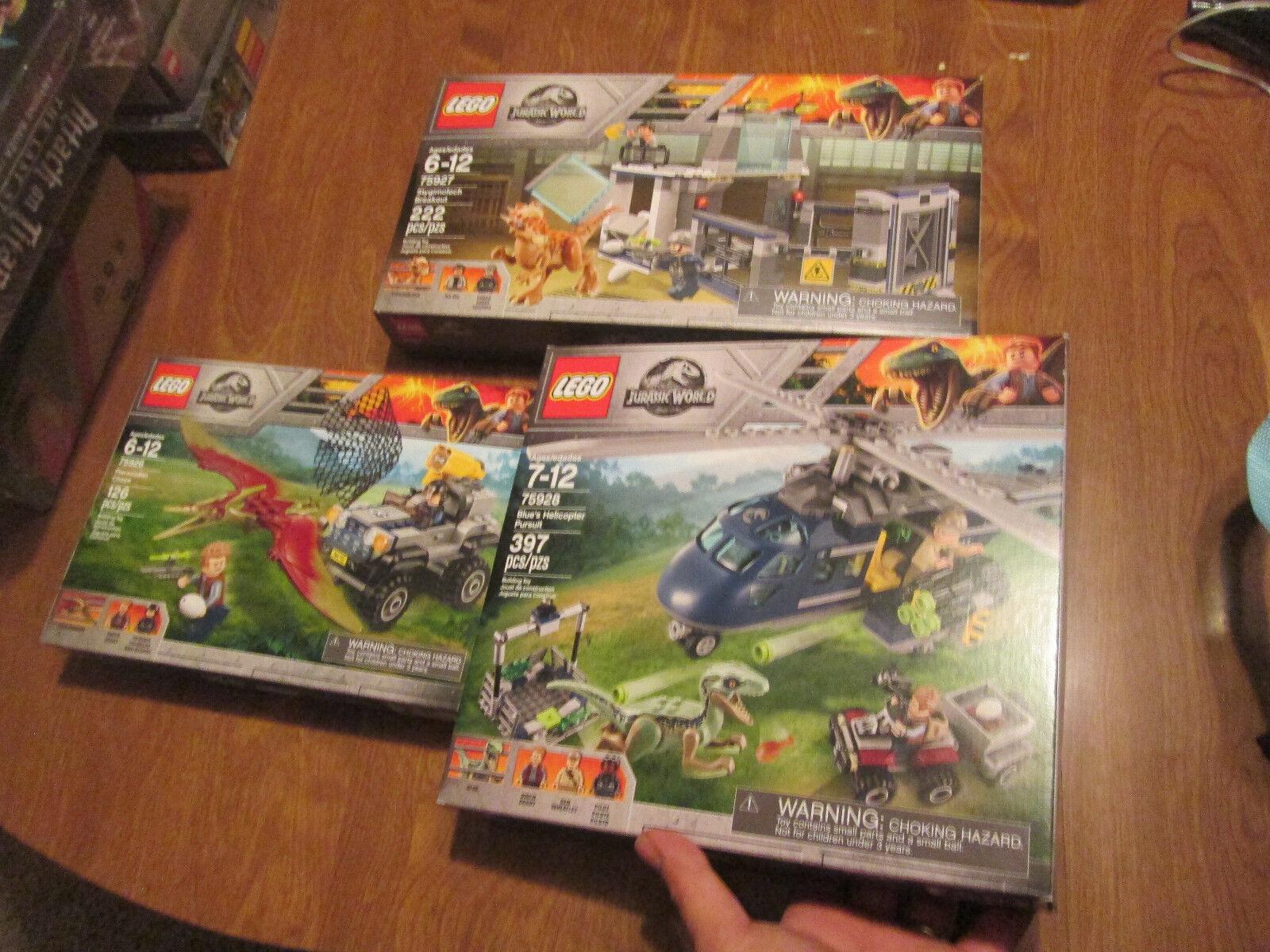 LEGO JURASSIC WORLD Blau'S HELICOPTER PURSUIT ++  SET 3 LEGOS 75926 75927 75928