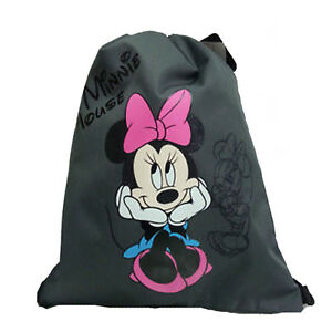 fbcf6cd0c5c Image is loading MINNIE-MOUSE-Bag-backpack-drawstring-fabric-grey-printed-