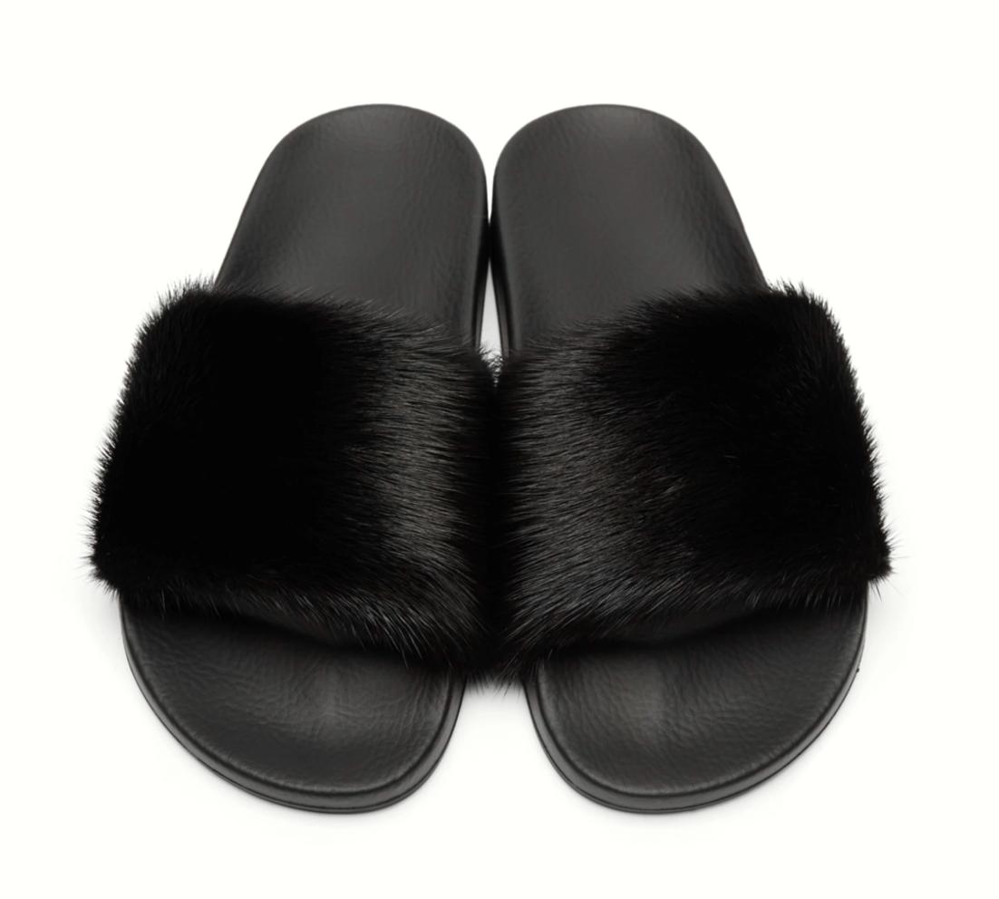 Diapositivas Diapositivas Diapositivas de piel de visón Inspirado Diseñador Zapatillas Negro Hecho a Mano bb1379