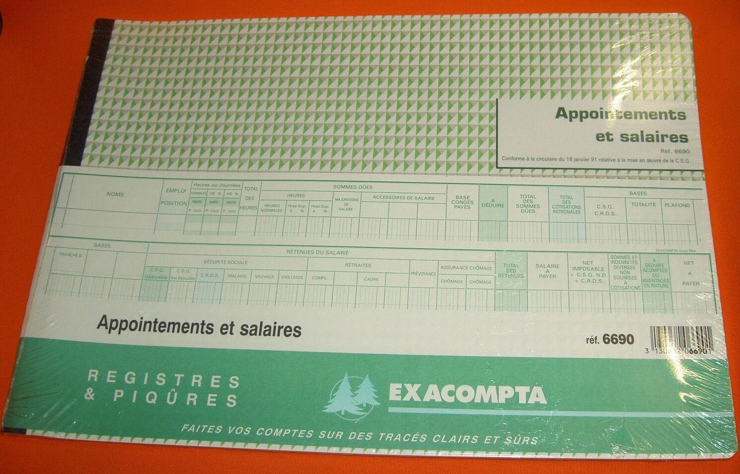 Registre EXACOMPTA 6690 Appointements Appointements 6690 et Salaires C.S.G Comptabilité obligatoire 4d6755