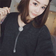 Ladies Crystal Charming Flower 2 Line Pendant Long Necklace Sweater Chain N7