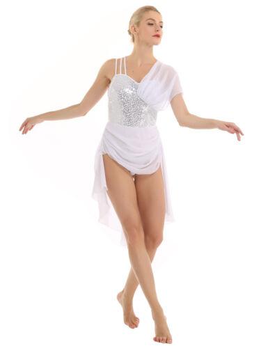 Womens Lyrical Dress Contemporary Ballet Chiffon Sequins Dance Leotard Dresses