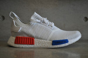 best sneakers af8a5 741e5 Details about Adidas NMD Runner OG Primeknit PK - White/Red-Blue