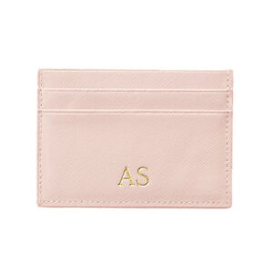 PERSONALISED-Womens-Ladies-Genuine-Leather-Card-Holder-Wallet-Pink-Blush-Gift
