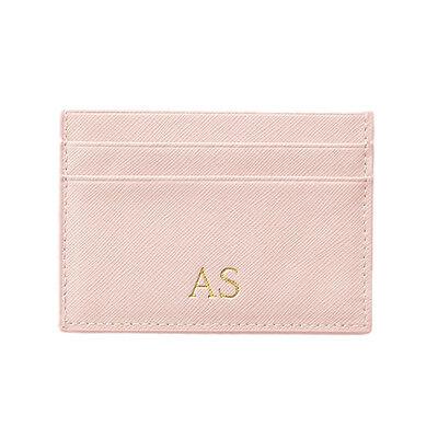 PERSONALISED MONOGRAMMED Leather Wallet Card Holder Bridal Light Pink Blush