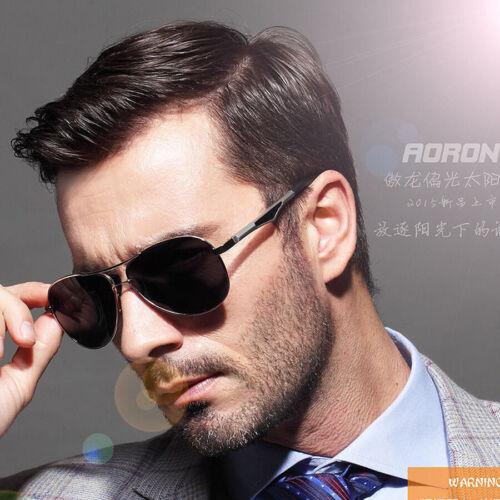 AORON Mens Retro Metal Fashion  Polarized Sunglasses Glasses Driving Eyewear