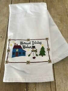 NEW Set//2 Williams Sonoma Twas the Night Before Christmas Snowman Kitchen Towels
