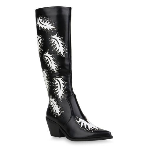 Damen Cowboystiefel Gefütterte Stiefel Nieten Stickereien 832496 Schuhe