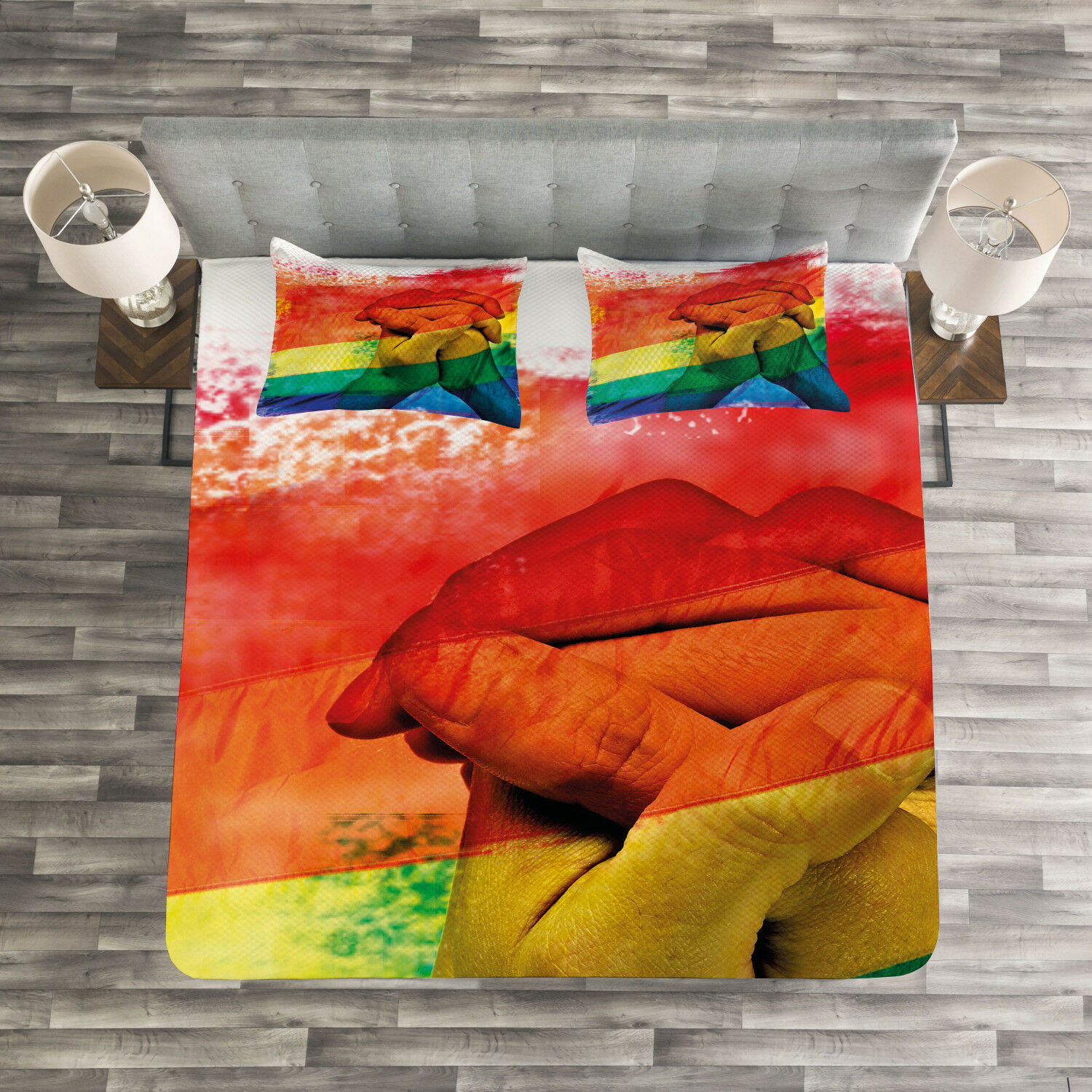 Pride Quilted Bedspread & Pillow Shams Set, Gay Couple Holding Hands Print