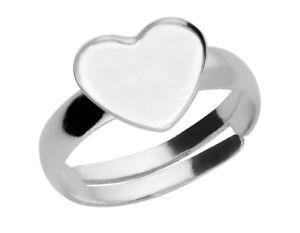 3529ae3e6 Silver adjustable ring base for Swarovski 2808 heart flatback 10 mm ...