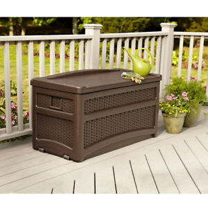 Pleasing Details About Patio Storage Bench Outdoor Garden Porch Seat On Box Pool Resin Brown 73 Gallon Gmtry Best Dining Table And Chair Ideas Images Gmtryco
