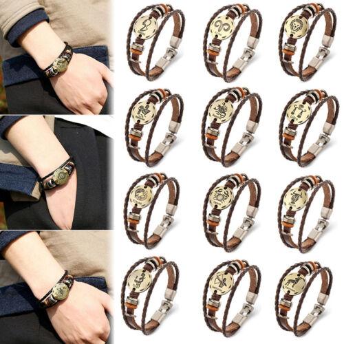 12 Konstellation Zodiac Runde Anhänger Leder Armband Armband Kette