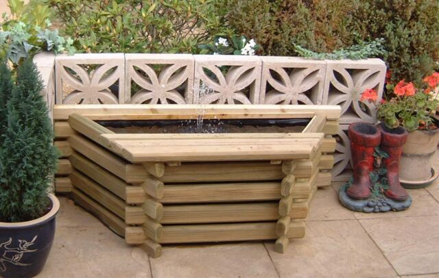 FLAT BACK WOODEN 25 GALLON POOL WITH LINER & PUMP RAISED FISH POND WATER FEATURE