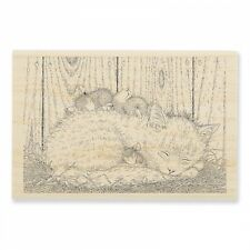 HOUSE MOUSE RUBBER STAMPS CAT NAP NEW wood STAMP