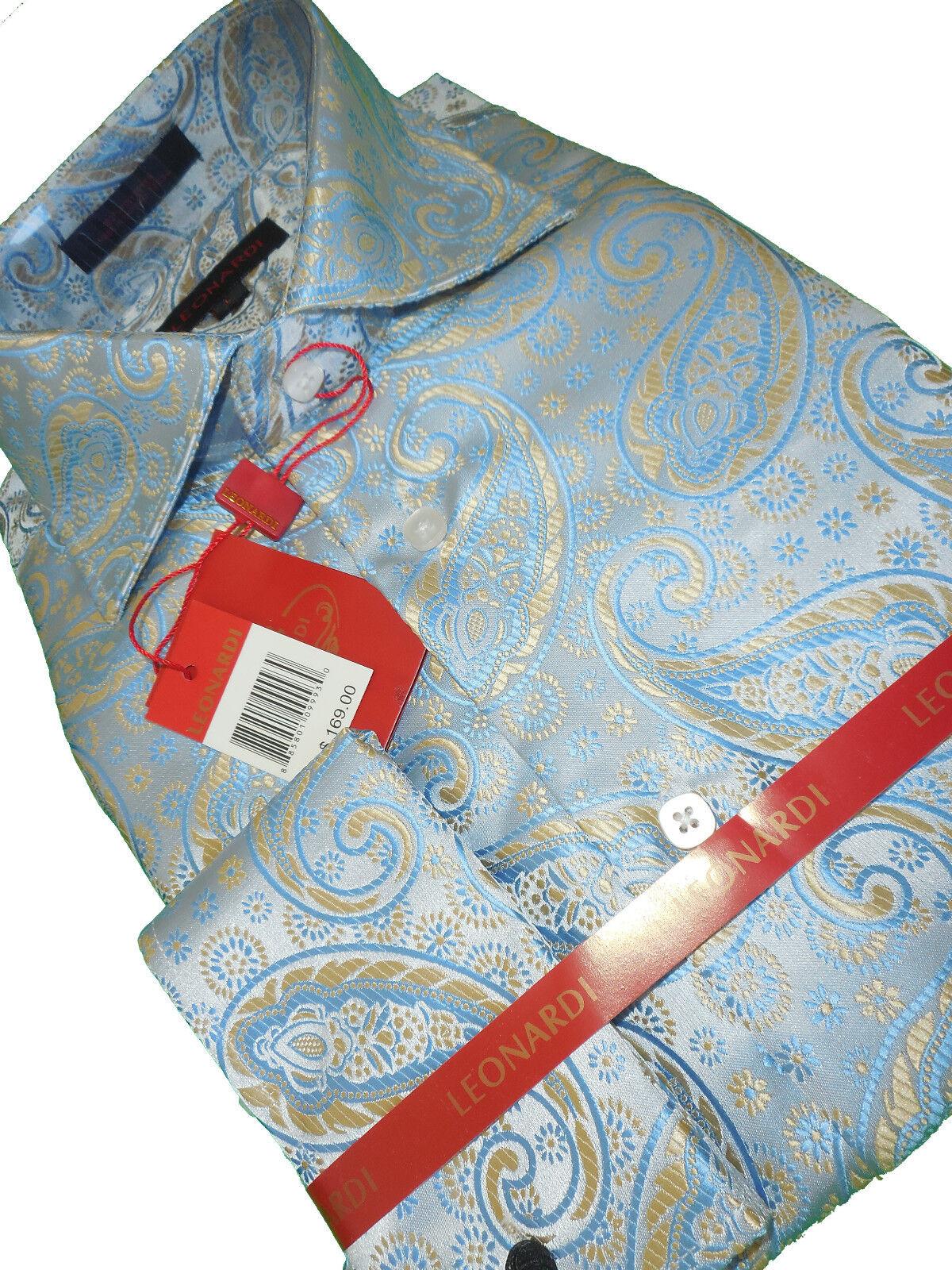 herren Leonardi High halsband French Cuff hemd Edition 397 Blau Pearl Paisley