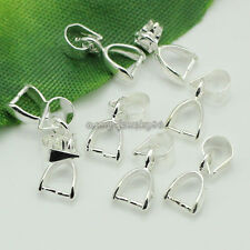 100pcs Silver plated Jewelry clasps pendant Pinch bails 12mm W2594