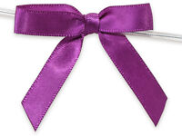 6ct. Pre-tied Royal Purple 2 Satin Gift Bows Wire Ties Ready-to-use 3/8 Ribbon