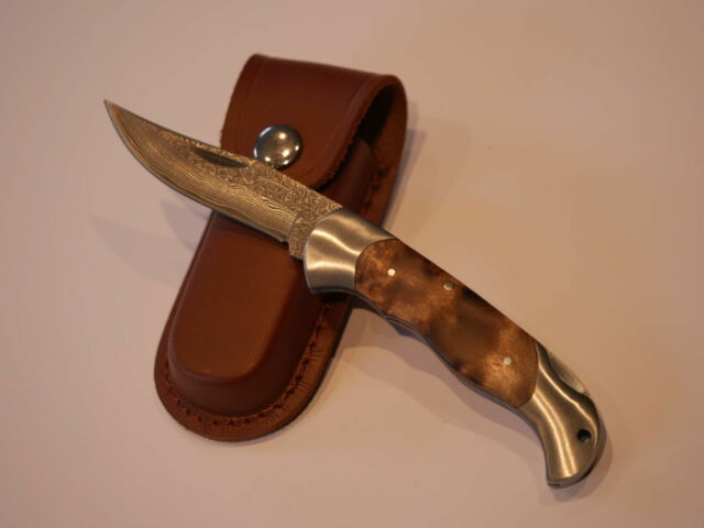 Damast Taschenmesser - Jagdmesser Ahornholzgriff - Neu