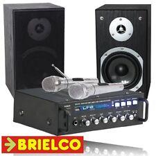 KARAOKE AMPLIFICADOR USB BLUETOOTH 2X75W 2 MICROFONOS 2 CAJAS ACUSTICAS BD10706