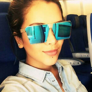 Fashion-Women-Men-Retro-Sunglasses-Oversize-Square-Frame-Flat-Top-Metal-Glasses