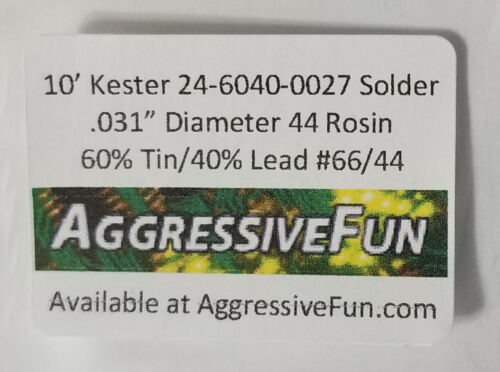 "Kester 44 Rosin Core Solder .031/"" .8mm 60//40 66//44 Flux 24-6040-0027 30ft 1.1oz"