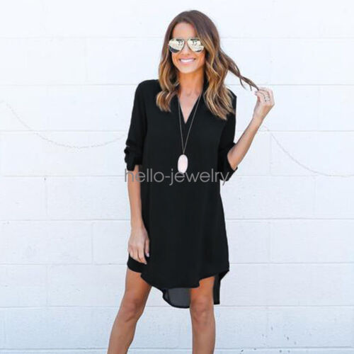 Damen Sommer Hemd Chiffon Longshirt Kleid Kleider Bluse Oberteile Tops 4 Farbe