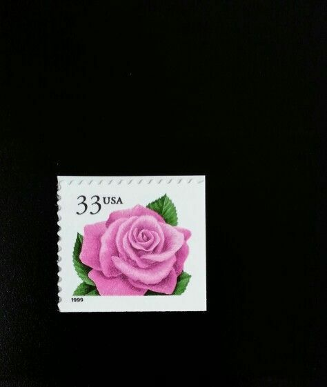 1999 33c Coral Pink Rose, Booklet Single Scott 3052 Min