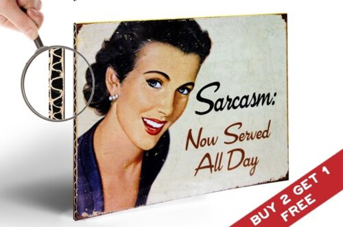 SARCASM NOW SERVED ALL DAY POSTER A4 Humorous Retro Photo Print Home Wall Decor