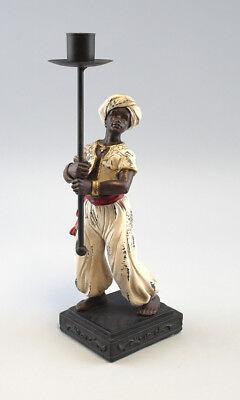 9937301 Figur Skulptur Resin 1-flammiger Leuchter Mohr mit Fackel H28,5cm