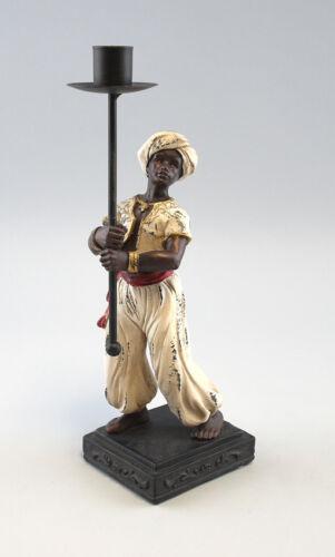 9937008 Figur Skulptur Resin 1-flammiger Leuchter Mohr mit Fackel H28,5cm