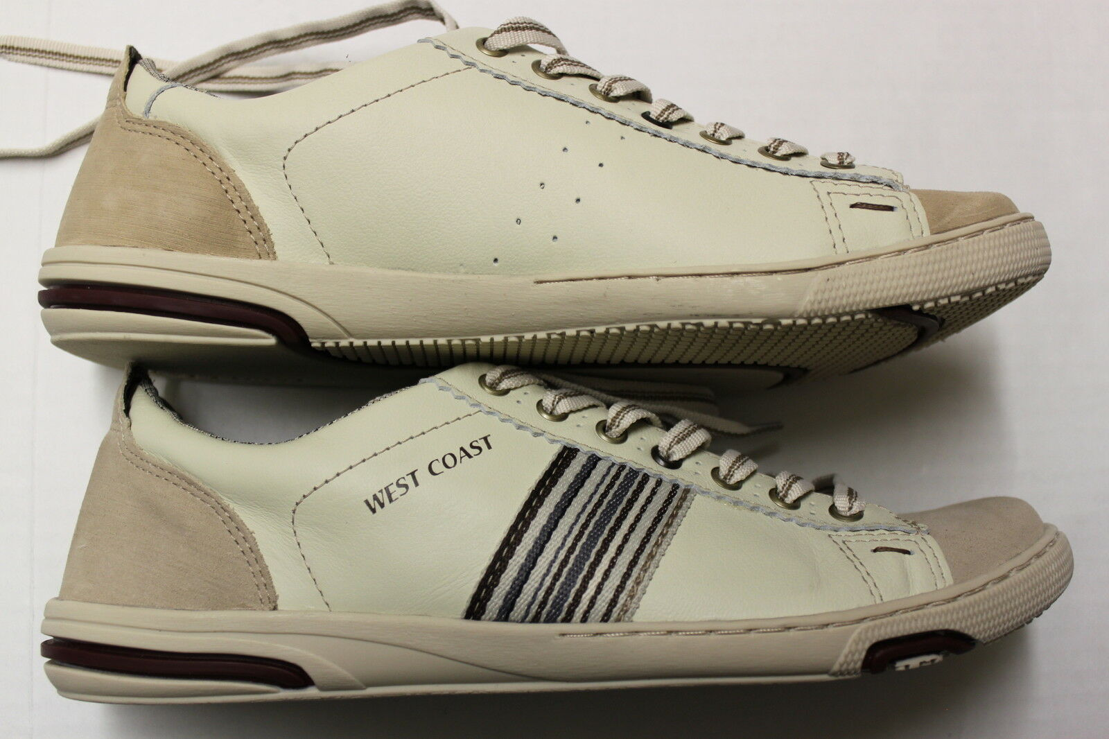 WEST COAST RARE Mens 2-TONE LIGHT BROWN STRIPED SNEAKERS WALKING SHOES NEW  11.5