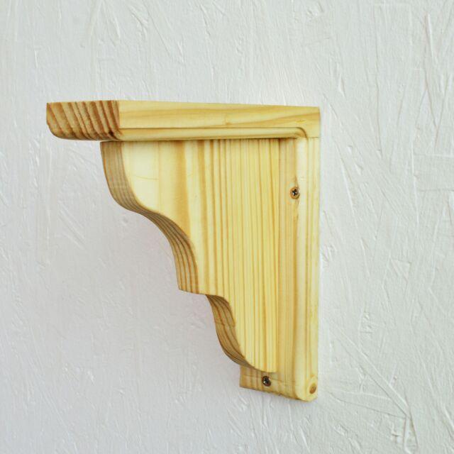2 set pine wood shelf brackets mounted rack support ebay. Black Bedroom Furniture Sets. Home Design Ideas